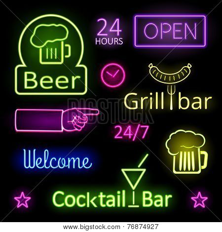 Glowing Neon Lights Bar Signs on Black Background