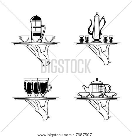 Holding Tray with Coffee or Tea and Cups