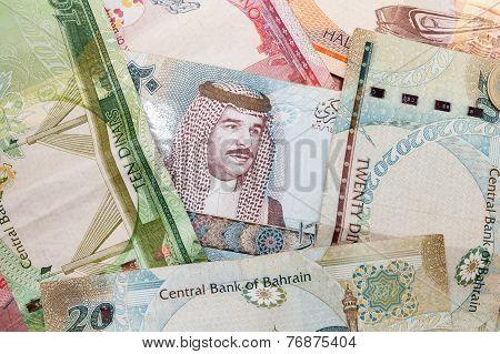 Modern Bahrain Dinars Banknotes, Close Up Background
