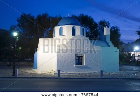 The Greek Church In The Night Light Lamps