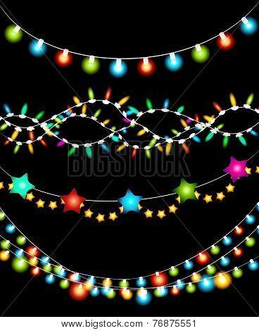 Colorful Christmas Lights Garlands