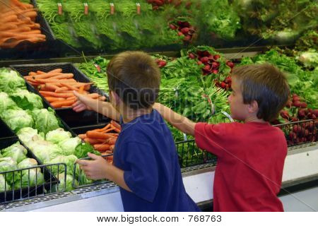 Boys Reaching for Produce