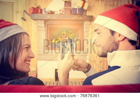Couple Celebrating Christmas And New Year's Eve