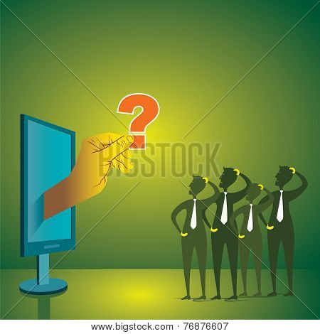 Men thing about computer problem concept stock vector