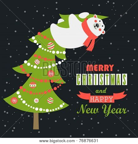 Greeting card, polar bear climbed the Christmas tree