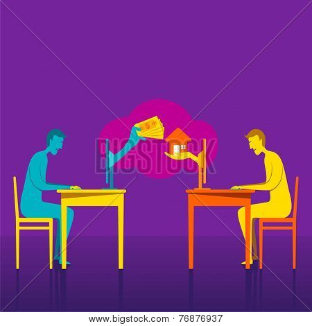 on-line buy home or deal home concept vector