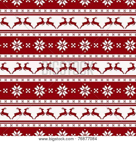 Striped Christmas Pattern With Deers. Vector Seamless Background.