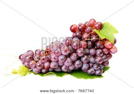 Ripe,tasty Grapes On A White.