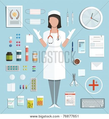 Doctor Standing Ready to Work with Pills Medications Bottles and Tools