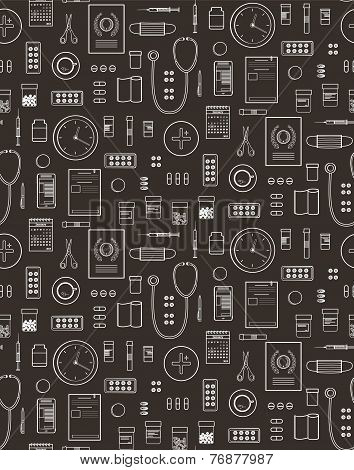 Outlined Medical Symbols and Icons Seamless Pattern Background on Black
