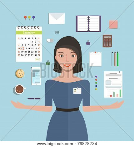 Office Manager Woman Working and Supplies Objects Composition