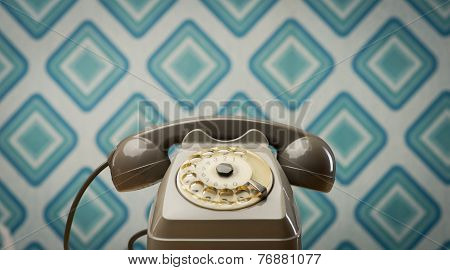 Vintage Telephone On Diamond Wallpaper