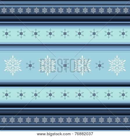 Winter Striped Background With Snowflakes