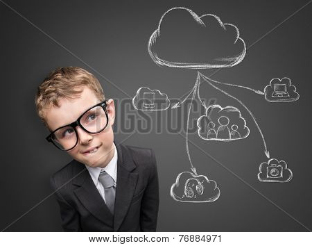 Business child thinking about future technology. Cloud computing idea concept