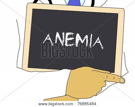Illustration: Doctor Shows Information: Anemia