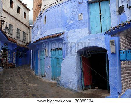 Blue Residential Buildings In Medina Of Chefchaouen