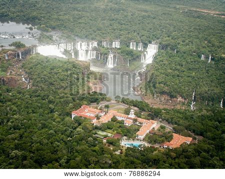 Aerial View Of Iguazzu Falls And Hotel