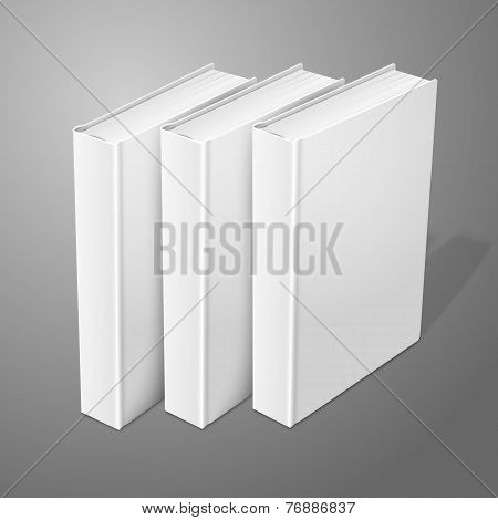 Realistic three standing white blank hardcover books. Isolated on background for design and branding