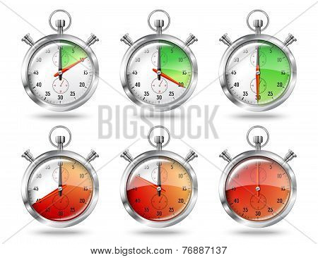 Set of silver bright stopwatch clock intervals, isolated on white background. Vector