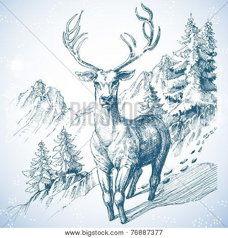 Mountain pine tree forest and deer sketch