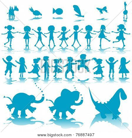 kids and animals silhouettes