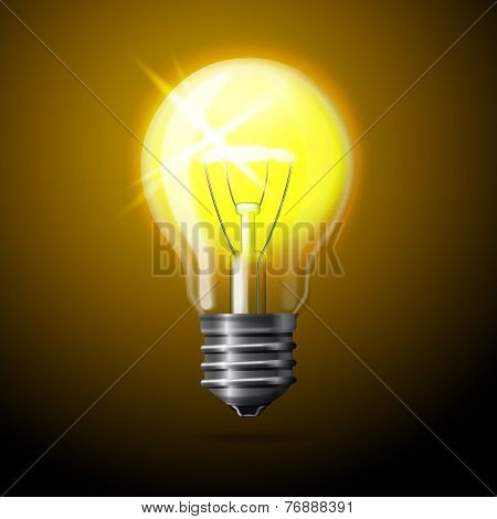 Vector realistic glowing light bulb on dark background.