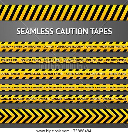 Set of black and yellow seamless caution tapes with different signs. Police line, crime scene, high