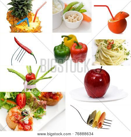 Organic Vegetarian Vegan Food Collage  Bright Mood