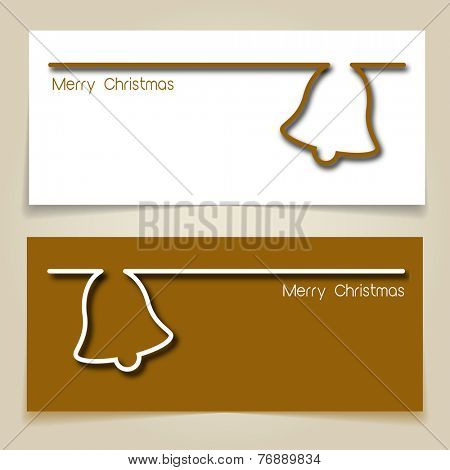 Christmas banners brown and white, with simple continuous line and drop shadow  creating a Christmas jingle bell.