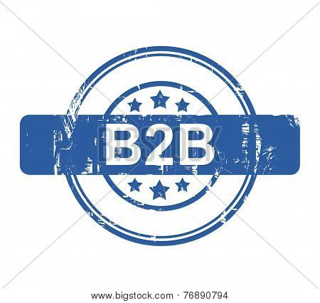 B2B business concept stamp with stars isolated on a white background.