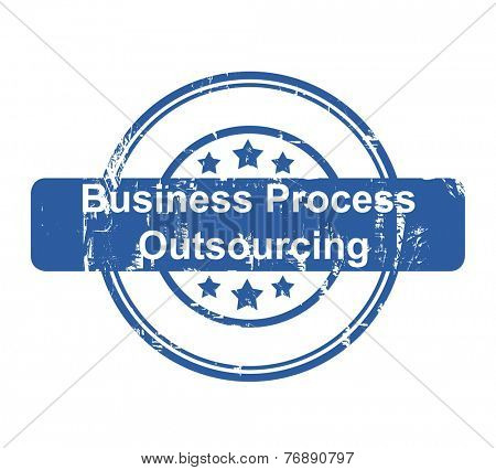Business Process Outsourcing concept stamp with stars isolated on a white background.