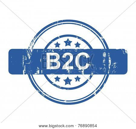 B2C business concept stamp with stars isolated on a white background.