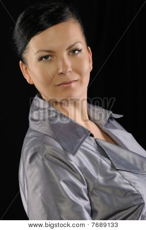 Portrait Of The Woman On A Black Background