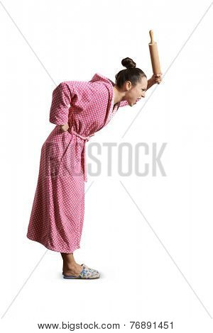 angry screaming housewife holding rolling pin and looking down. isolated on white bakground