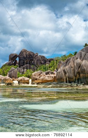Perfect Tourist Destination to Explore in Seychelles with Stunning Clear Water Lagoon and Attractive Large Rock Formations. An Exotic Paradise in La Digue Island.