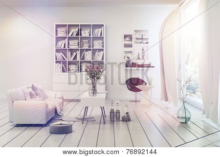 3D Rendering of Bright airy white living room interior with simple decor of a single sofa, bookcase, table and floor ornaments overlooking a large window with long curtains and sun flare