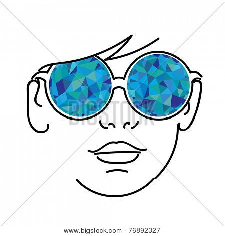 Face with blue kaleidoscopic glasses