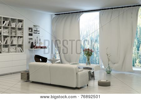 3D Rendering of Comfortable living room interior with large panoramic windows with white curtains overlooking a garden with a bookcase filled with books on the wall in neutral decor