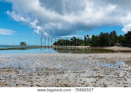 Stillness of Beautiful Anse Union Beach in La Digue, Seychelles. Captured in Panorama View.