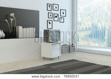 3D Rendering of Simple living room corner with grey and white decor with a wall recess with books , flowers and vases, a rug, cabinet and old style television set and artwork with a large window