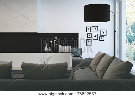 3D Rendering of Architectural Interior Design - Gray Sofa on Beautiful Lounge Room with Elegant Decorations.