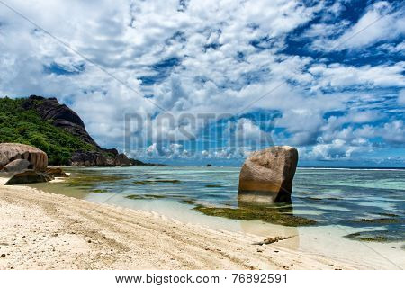 Big Old Rocks on Clear Water Lagoon at Anse Source d'Argent in La Digue Island, Seychelles