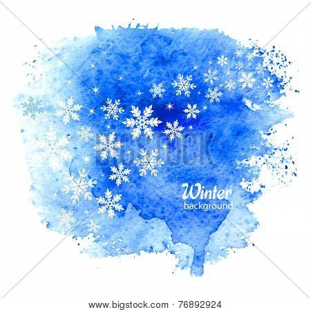 Abstract winter background with snowflakes. Vector.