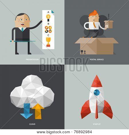 Set of flat design concept images for infographics, business, web,