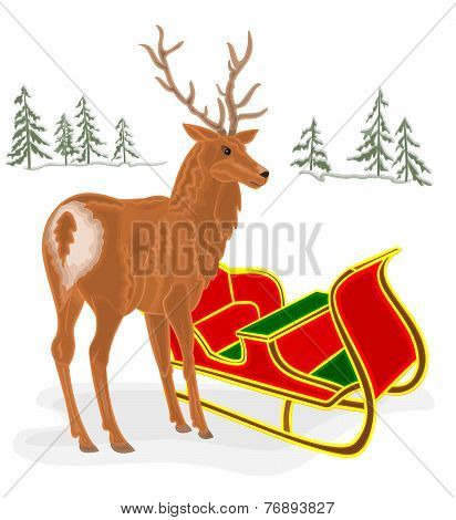 Christmas Reindeer With Santa Sleigh Vector