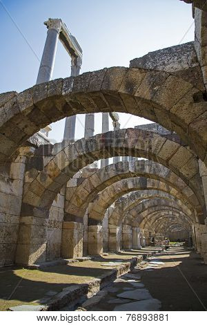 Agora Of Smyrna With Columns From 4Th Century Bc Izmir Turkey 2014