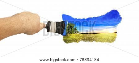 Picture Of Yellow Field And Blue Sky Paint With A Brush