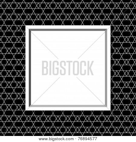 Black And White Line And Zigzag Patterned Background With Frame