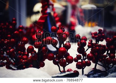 Christmas and happy new year composition, red christmas berries