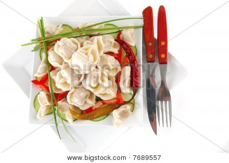 Dumplings Served With Vegetables